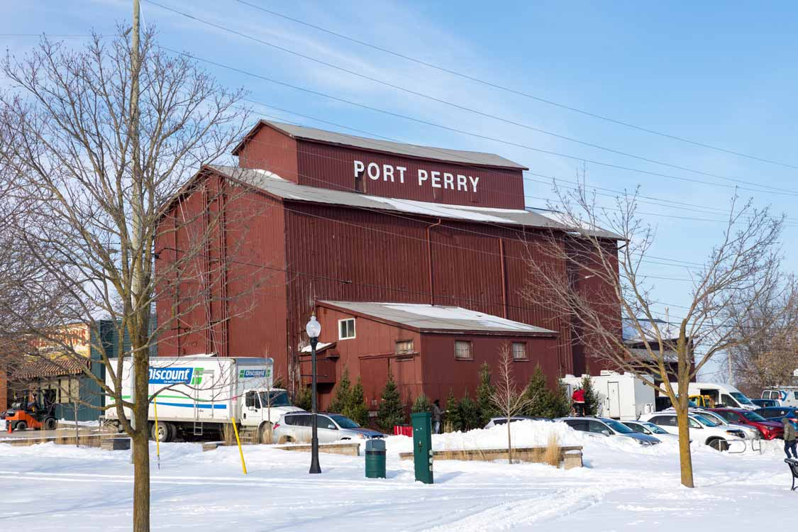 Red Warehouse With Port Perry Ontario Sign