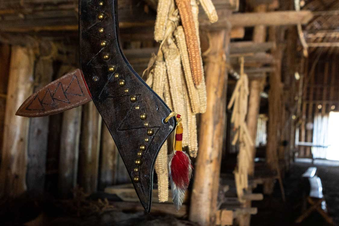 Indigenous Artwork and artefacts inside the Longhouse in Six Nations