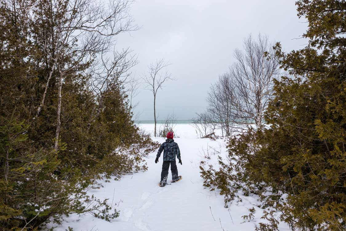 Snowshoeing in Ontario at MacGregor Point