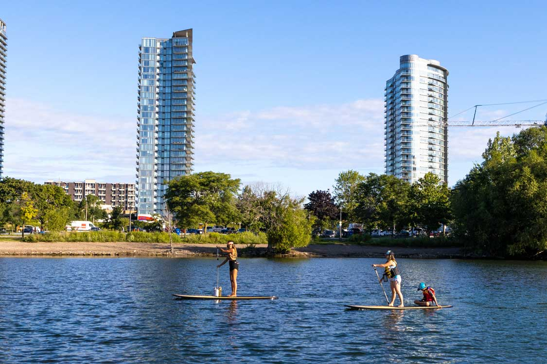 Paddleboarding along the Lakeshore in Toronto