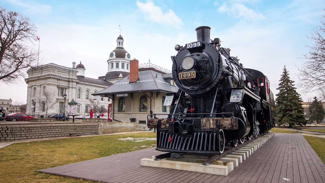 Steam Train in front of the Kingston City Hall