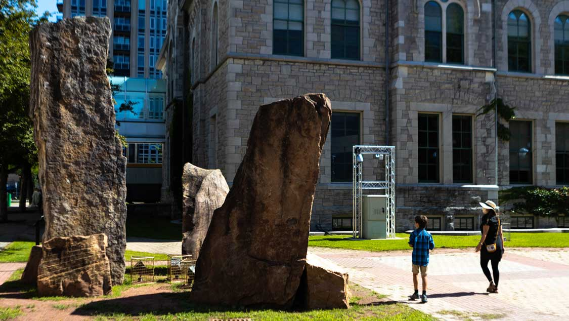 3 tall stones that make up the Lost Child monument in Ottawa