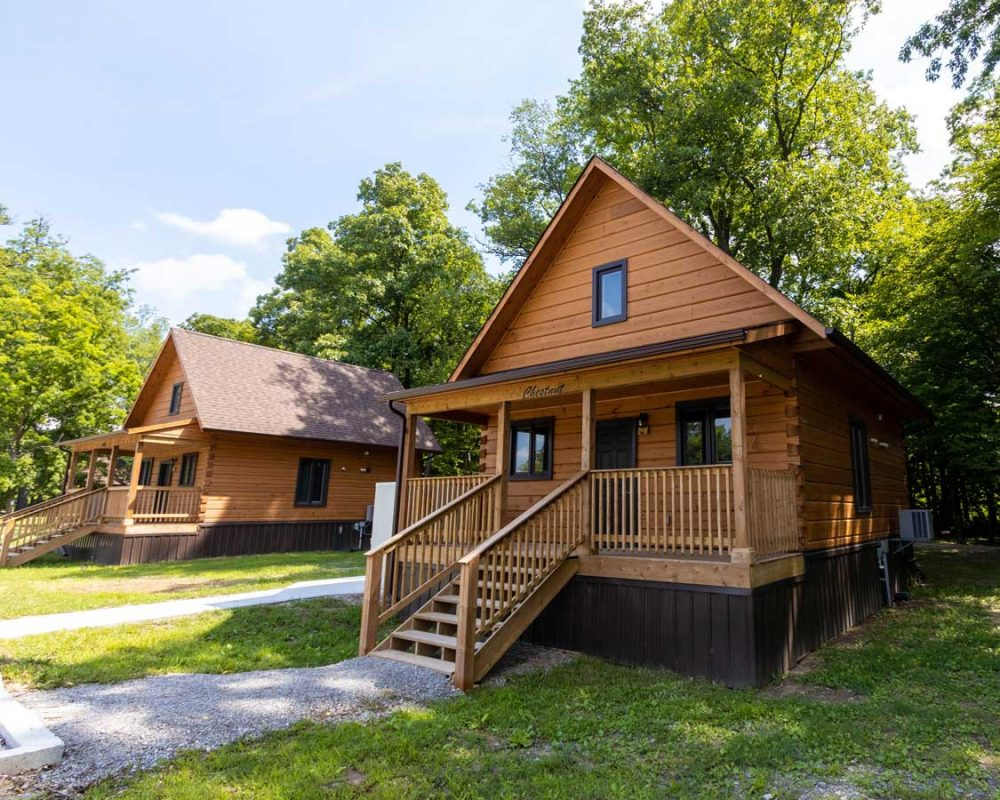 Small glamping cabins at a park near Brantford