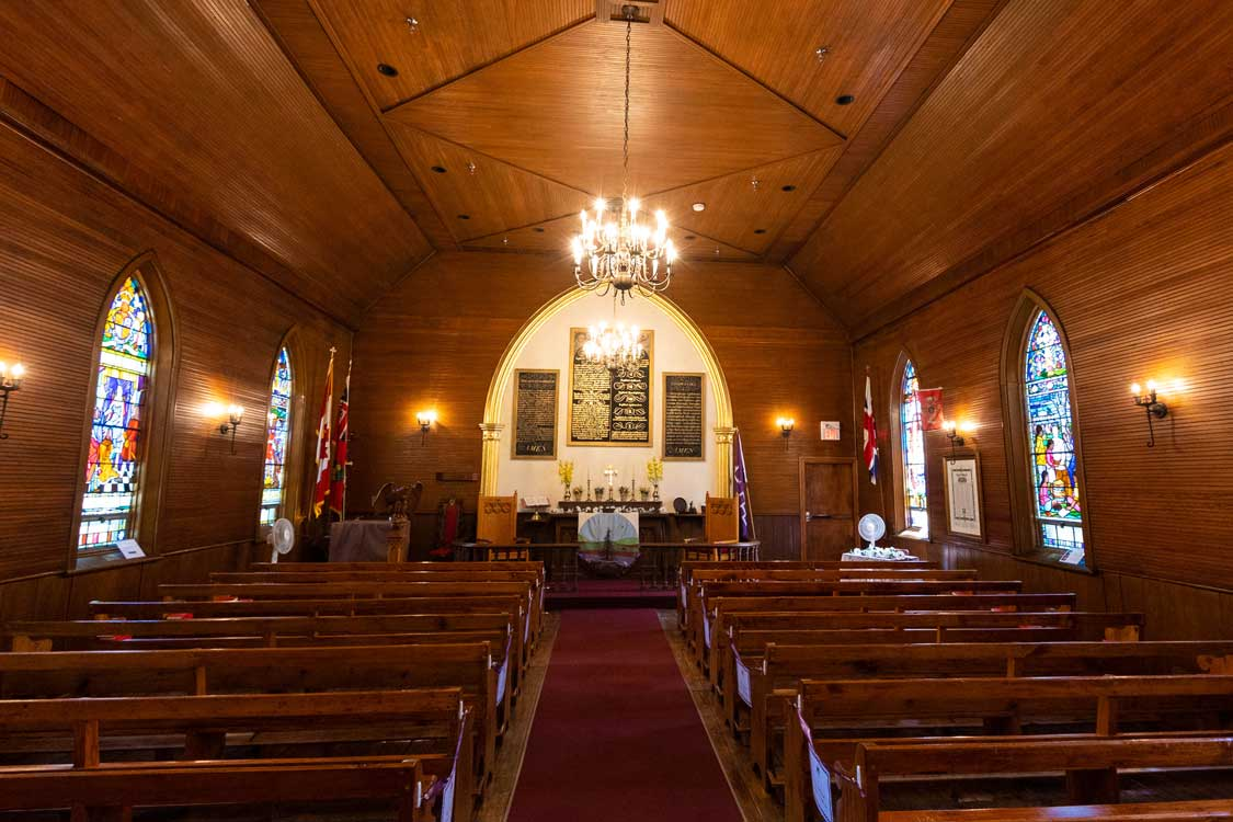 The wooden interior of a 19th century church in Brantford Ontario