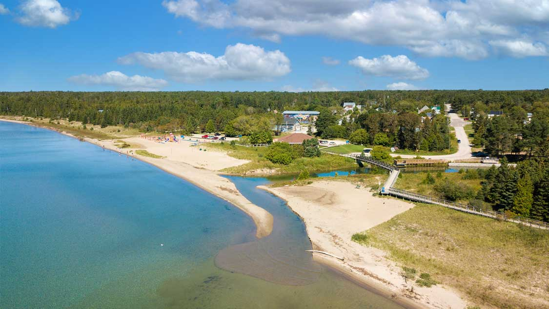 Aerial shot of Providence Bay Beach on Manitoulin Island
