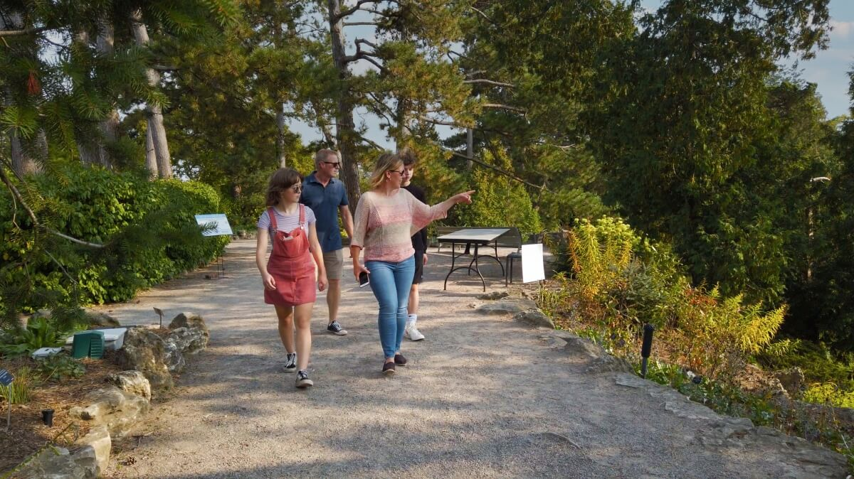 A family enjoying Burlington's Royal Botanical Gardens.