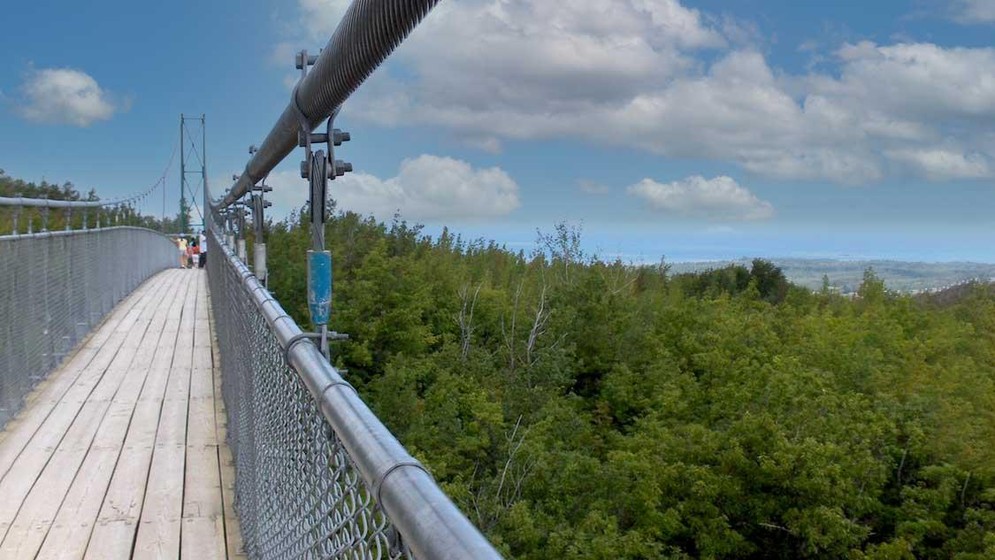 Scenic caves suspension bridge looking over Georgian Bay