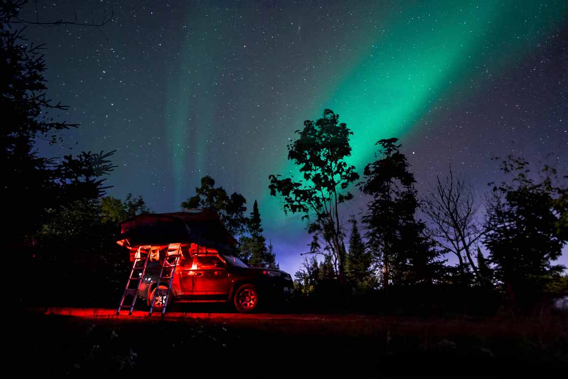 Camping in Sleeping Giant Provincial Park under the northern lights