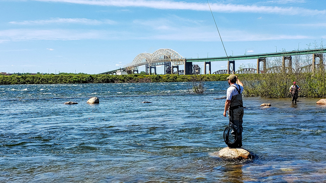 Fishing in the St. Mary's Rapids in Sault Ste Marie
