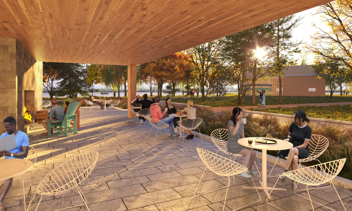 A rendering of the exterior lakefront terrace at the Canadian Canoe Museum