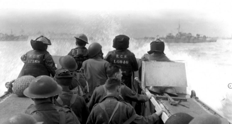 The Canadians heading towards Juno beach on D-Day.